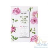 Успокаивающая маска для лица с экстрактом чайного дерева и розы PETITFEE Tea Tree Rose Calming Mask 25g - 10 шт
