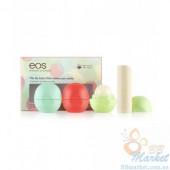 Набор бальзамов EOS Smooth Lip Balm 4-Pack: Sphere (mint, fruit, honeysuckle) + Stick (vanilla)